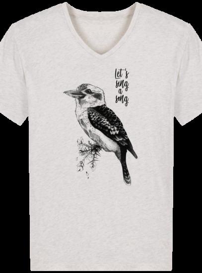 T-Shirt Homme V éthique Kookaburra - Cream Heather Grey - Face
