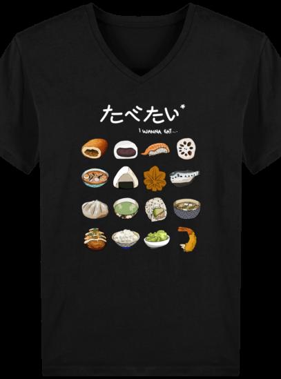 T-Shirt Homme V éthique Gastronomie Japonaise - Black - Face