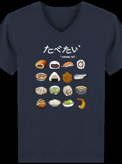 T-Shirt Homme V éthique Gastronomie Japonaise - French Navy - Face