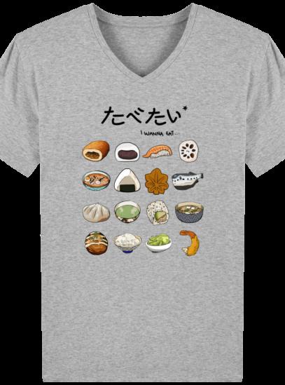 T-Shirt Homme V éthique Gastronomie Japonaise - Heather Grey - Face