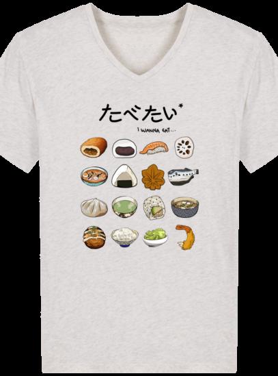 T-Shirt Homme V éthique Gastronomie Japonaise - Cream Heather Grey - Face