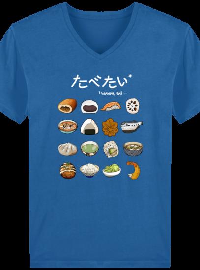 T-Shirt Homme V éthique Gastronomie Japonaise - Royal Blue - Face