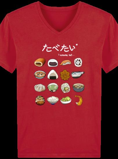 T-Shirt Homme V éthique Gastronomie Japonaise - Red - Face