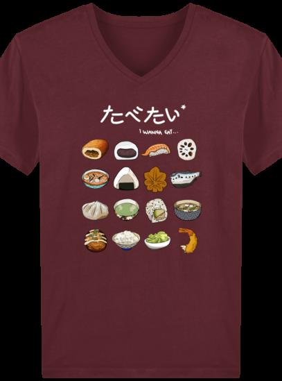 T-Shirt Homme V éthique Gastronomie Japonaise - Burgundy - Face