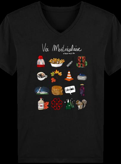 T-Shirt Homme V éthique Vie Montréalaise - Black - Face