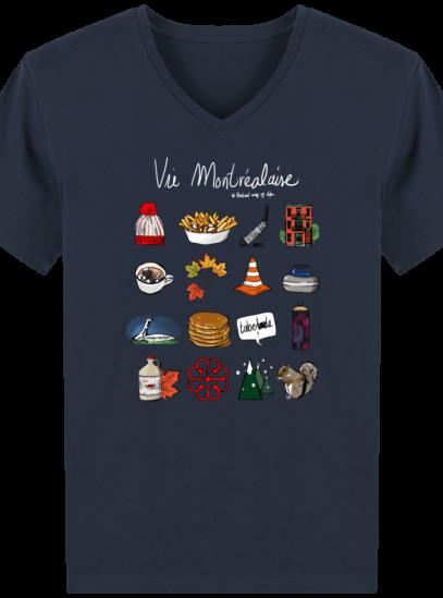 T-Shirt Homme V éthique Vie Montréalaise - French Navy - Face