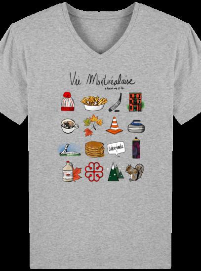 T-Shirt Homme V éthique Vie Montréalaise - Heather Grey - Face