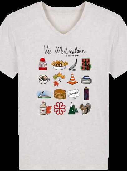 T-Shirt Homme V éthique Vie Montréalaise - Cream Heather Grey - Face