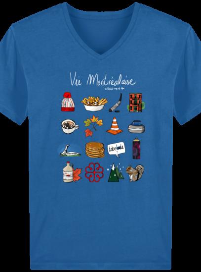 T-Shirt Homme V éthique Vie Montréalaise - Royal Blue - Face