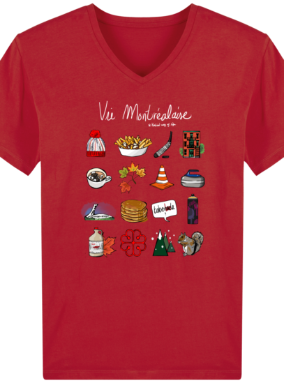 T-Shirt Homme V éthique Vie Montréalaise - Red - Face