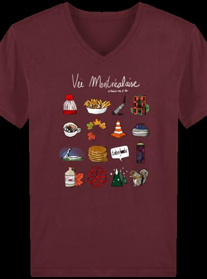 T-Shirt Homme V éthique Vie Montréalaise - Burgundy - Face