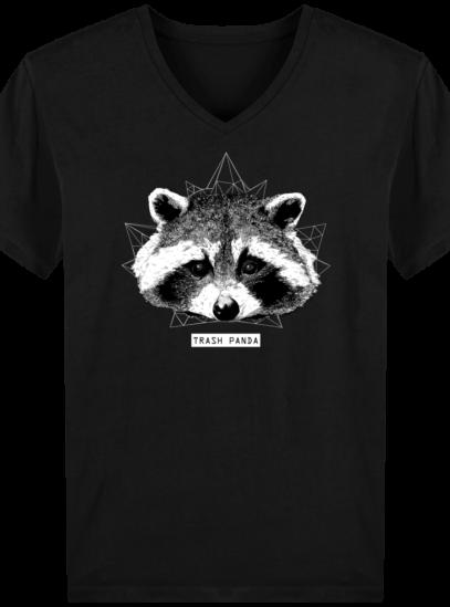 T-Shirt Homme V éthique Raton Laveur - Black - Face