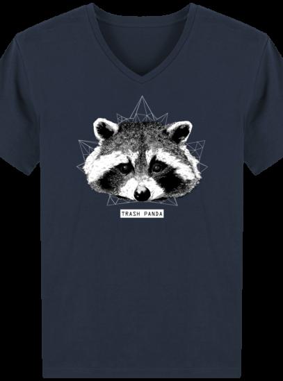 T-Shirt Homme V éthique Raton Laveur - French Navy - Face