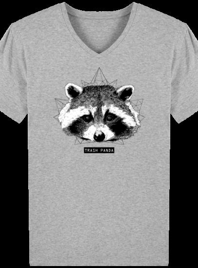 T-Shirt Homme V éthique Raton Laveur - Heather Grey - Face