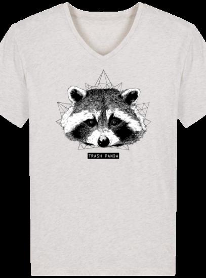T-Shirt Homme V éthique Raton Laveur - Cream Heather Grey - Face