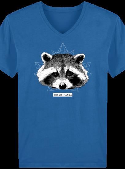 T-Shirt Homme V éthique Raton Laveur - Royal Blue - Face