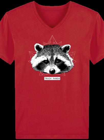 T-Shirt Homme V éthique Raton Laveur - Red - Face
