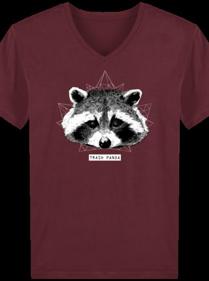 T-Shirt Homme V éthique Raton Laveur - Burgundy - Face