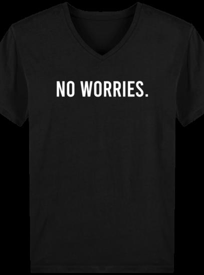 T-Shirt Homme V éthique No Worries - Black - Face