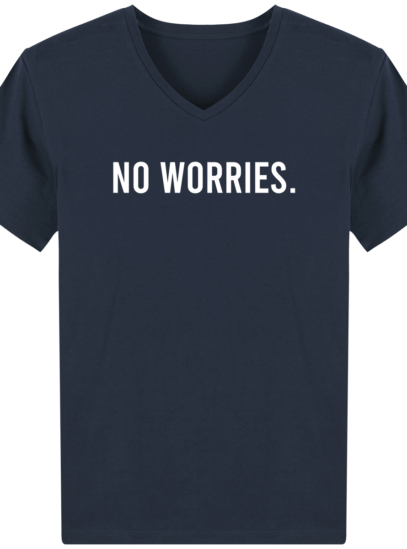 T-Shirt Homme V éthique No Worries - French Navy - Face