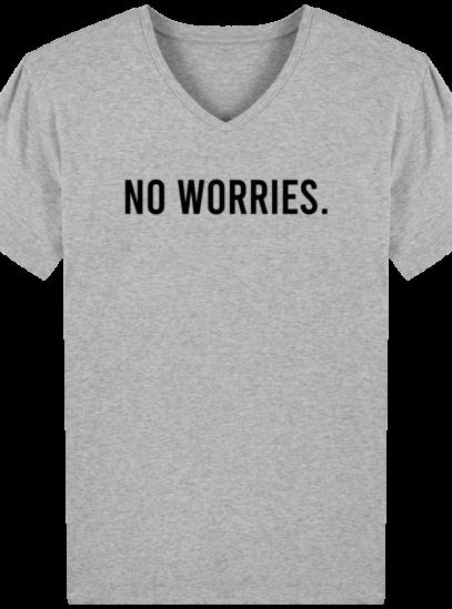 T-Shirt Homme V éthique No Worries - Heather Grey - Face