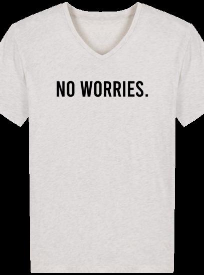 T-Shirt Homme V éthique No Worries - Cream Heather Grey - Face