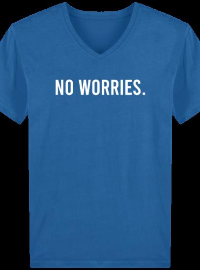T-Shirt Homme V éthique No Worries - Royal Blue - Face