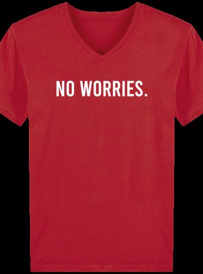 T-Shirt Homme V éthique No Worries - Red - Face