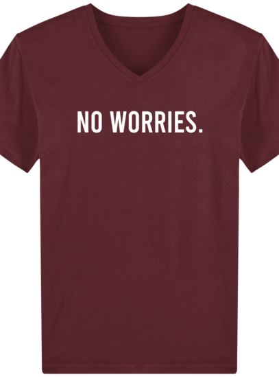 T-Shirt Homme V éthique No Worries - Burgundy - Face