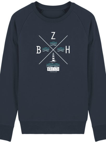 Sweat Homme Breton  Phare BZH - French Navy - Face