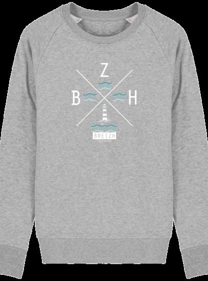 Sweat Homme Breton  Phare BZH - Heather Grey - Face