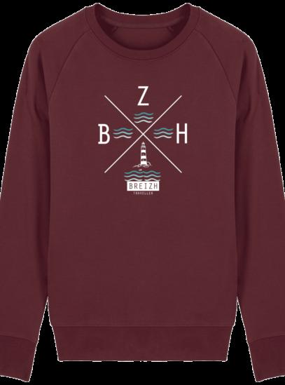 Sweat Homme Breton  Phare BZH - Burgundy - Face