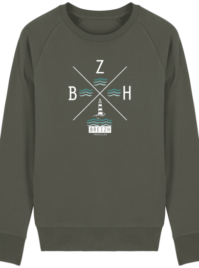 Sweat Homme Breton  Phare BZH - Khaki - Face