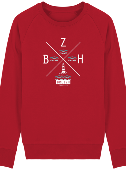 Sweat Homme Breton  Phare BZH - Red - Face