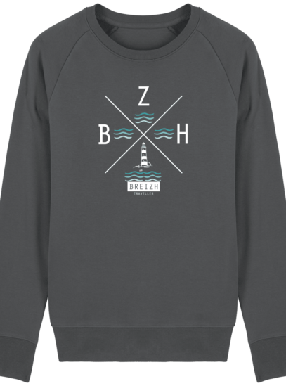 Sweat Homme Breton  Phare BZH - Anthracite - Face