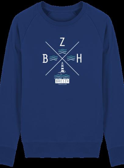 Sweat Homme Breton  Phare BZH - Majorelle Blue - Face