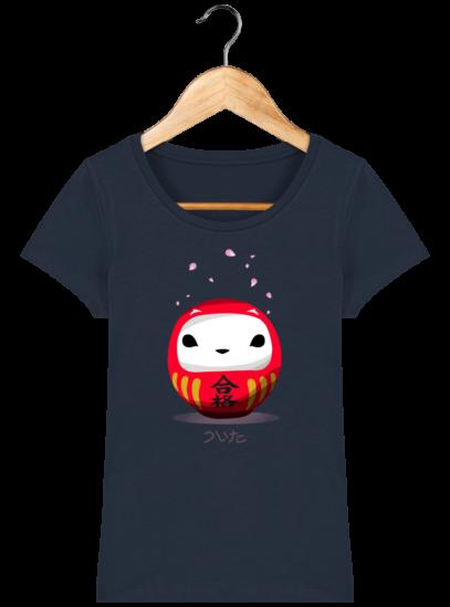 T-Shirt Femme éthique Cerisier Japonais - French Navy - Face