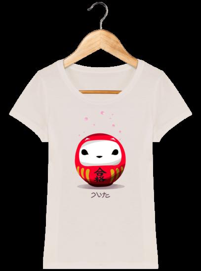 T-Shirt Femme éthique Cerisier Japonais - Off White - Face