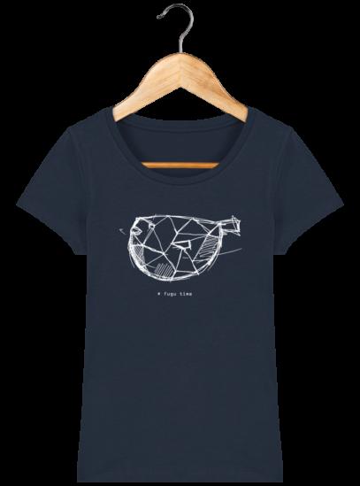 T-Shirt Femme éthique Fugu time - French Navy - Face