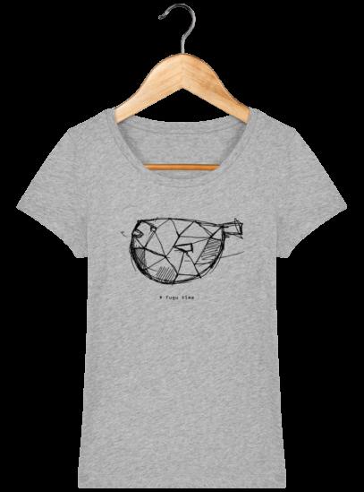 T-Shirt Femme éthique Fugu time - Heather Grey - Face