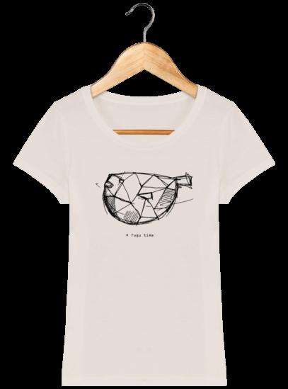 T-Shirt Femme éthique Fugu time - Off White - Face