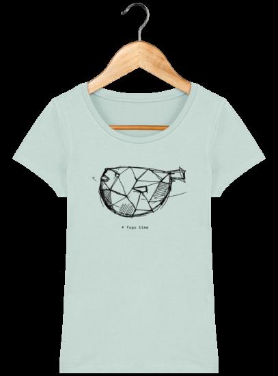 T-Shirt Femme éthique Fugu time - Caribbean Blue - Face