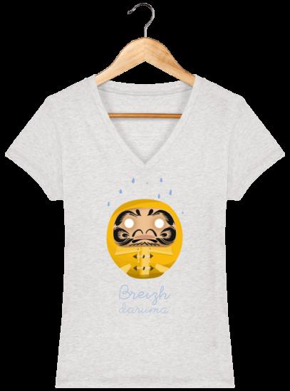 T-Shirt Femme V éthique Ciré jaune - Cream Heather Grey - Face