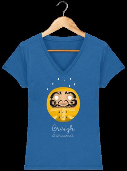 T-Shirt Femme V éthique Ciré jaune - Royal Blue - Face