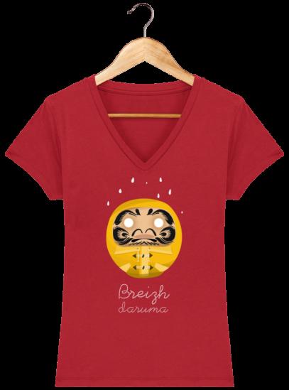 T-Shirt Femme V éthique Ciré jaune - Red - Face