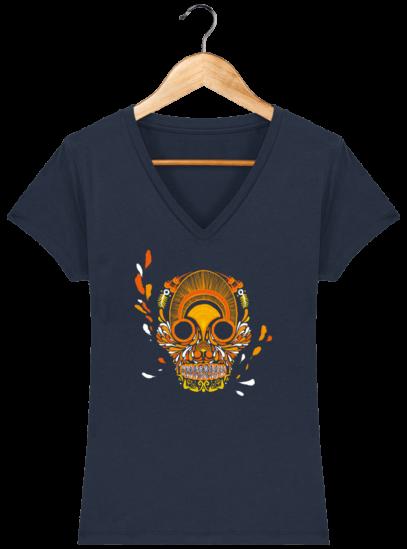 T-Shirt Femme V éthique Breizh Skull - French Navy - Face