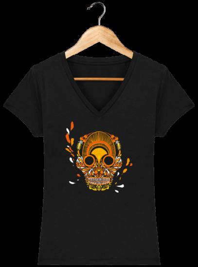 T-Shirt Femme V éthique Breizh Skull - Black - Face