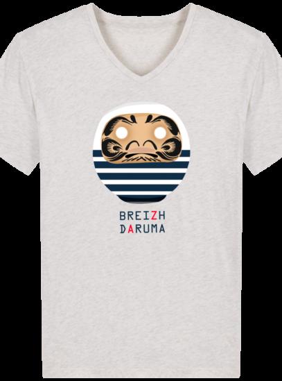 T-Shirt Homme V éthique Marinière - Cream Heather Grey - Face