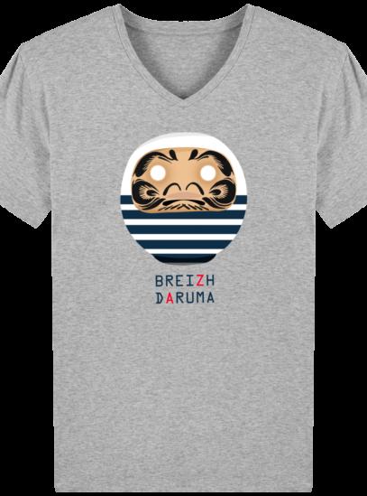 T-Shirt Homme V éthique Marinière - Heather Grey - Face
