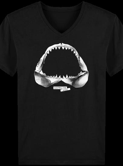 T-Shirt Homme V éthique Shark - Black - Face